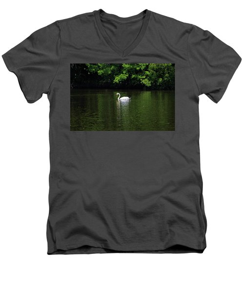 Men's V-Neck T-Shirt featuring the photograph Mute Swan by Sandy Keeton