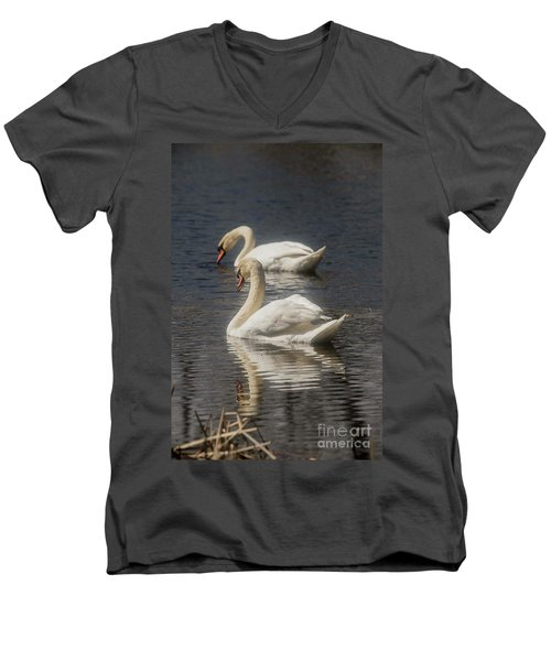 Men's V-Neck T-Shirt featuring the photograph Mute Swans by David Bearden