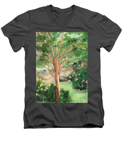 Men's V-Neck T-Shirt featuring the painting My Backyard by Vicki  Housel