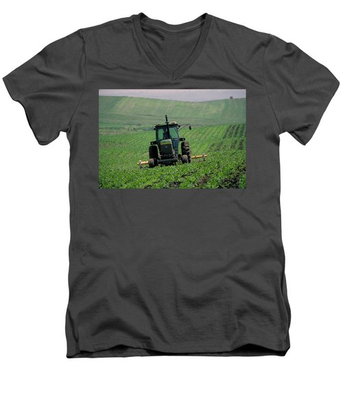 My Big Green Tractor Men's V-Neck T-Shirt by Garry McMichael