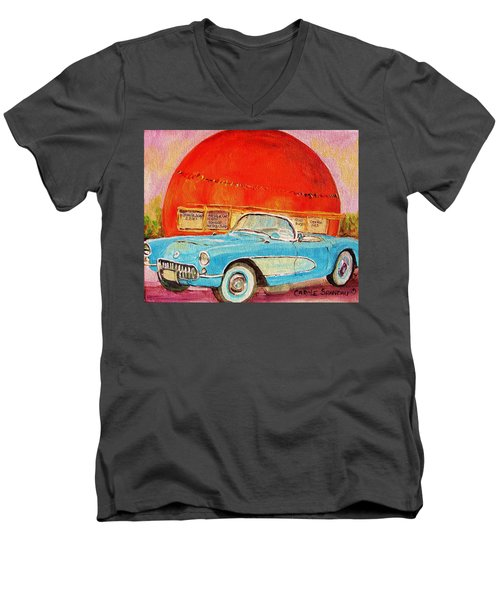Men's V-Neck T-Shirt featuring the painting My Blue Corvette At The Orange Julep by Carole Spandau