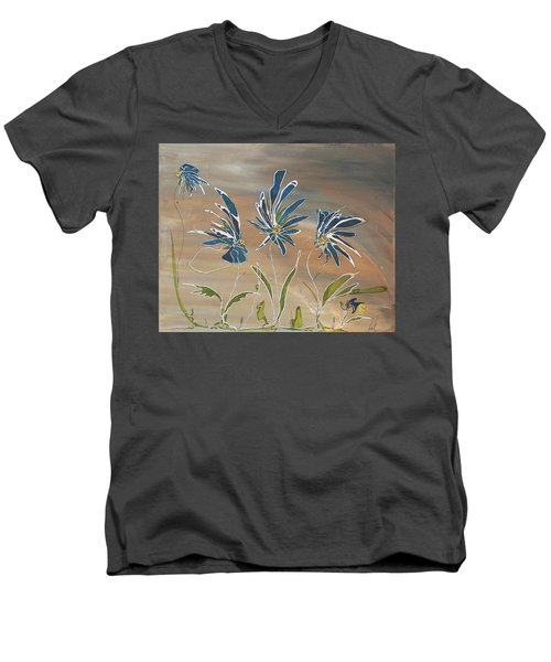 My Blue Garden Men's V-Neck T-Shirt by Pat Purdy