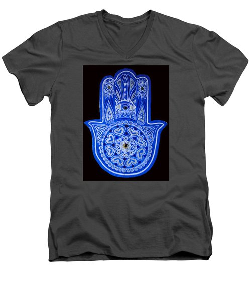 My Blue Hamsa Men's V-Neck T-Shirt by Patricia Arroyo