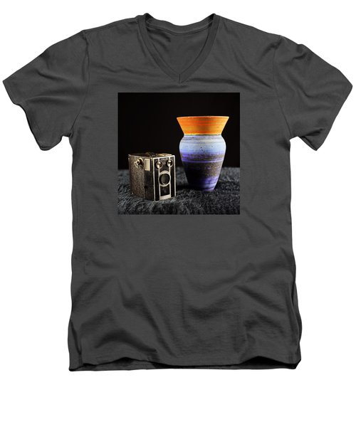 Men's V-Neck T-Shirt featuring the photograph My Dad's Camera by Jeremy Lavender Photography