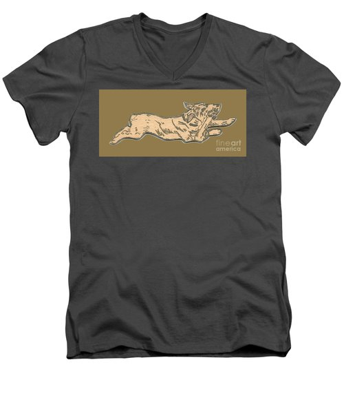 My Dog Tricksy Chewing A Bone Men's V-Neck T-Shirt
