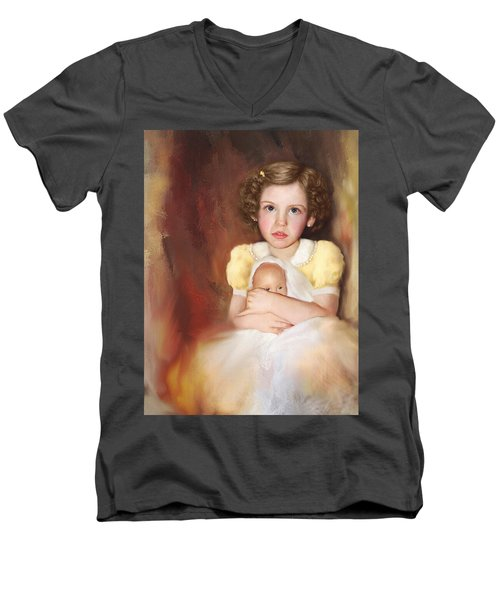 Men's V-Neck T-Shirt featuring the photograph My Dolly by Bonnie Willis