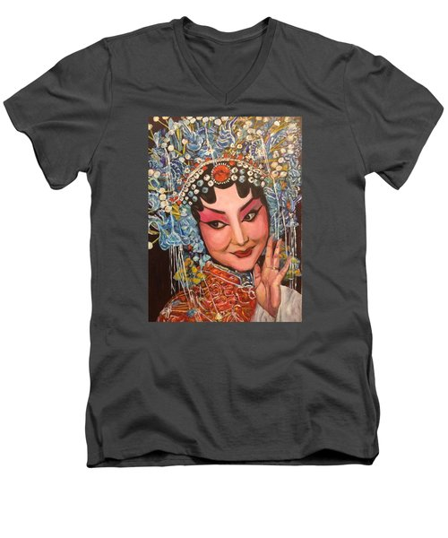 Men's V-Neck T-Shirt featuring the painting My Fair Lady by Belinda Low