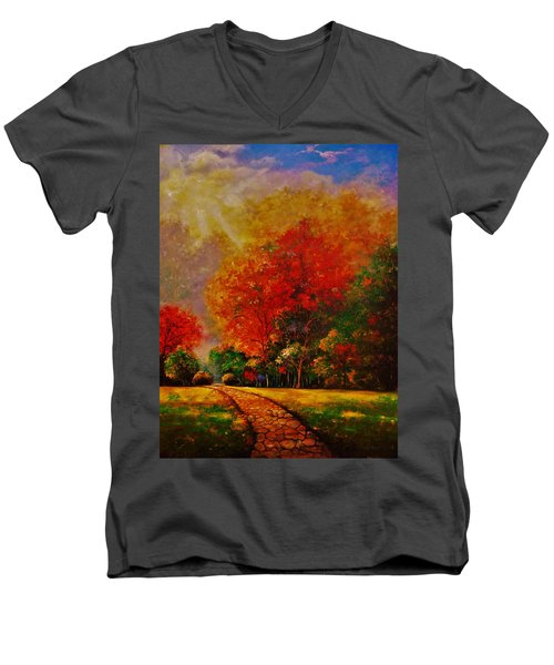 Men's V-Neck T-Shirt featuring the painting My Favorite Park by Emery Franklin