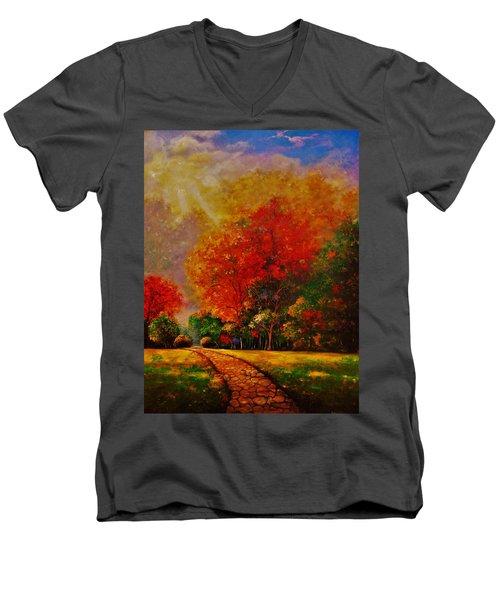 My Favorite Park Men's V-Neck T-Shirt by Emery Franklin