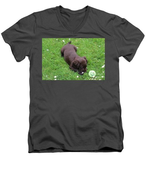 Men's V-Neck T-Shirt featuring the photograph My First Time... by Katy Mei