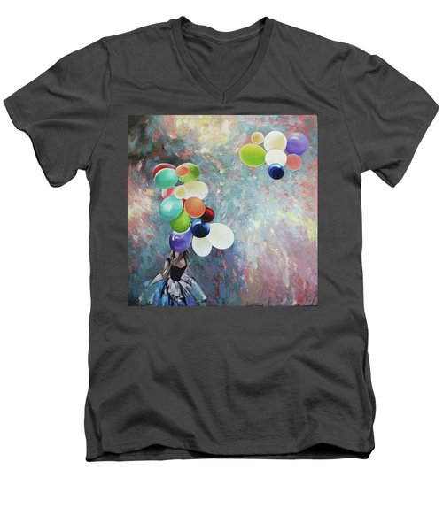 Men's V-Neck T-Shirt featuring the painting My Friend The Wind. by Anastasija Kraineva