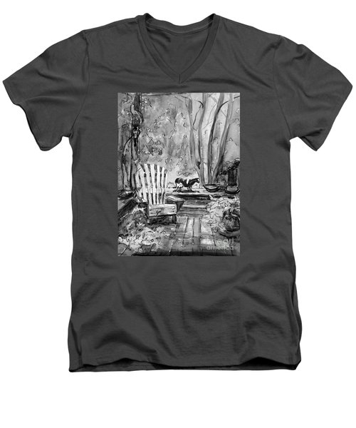 Men's V-Neck T-Shirt featuring the painting My Front Deck In Bw by Gretchen Allen