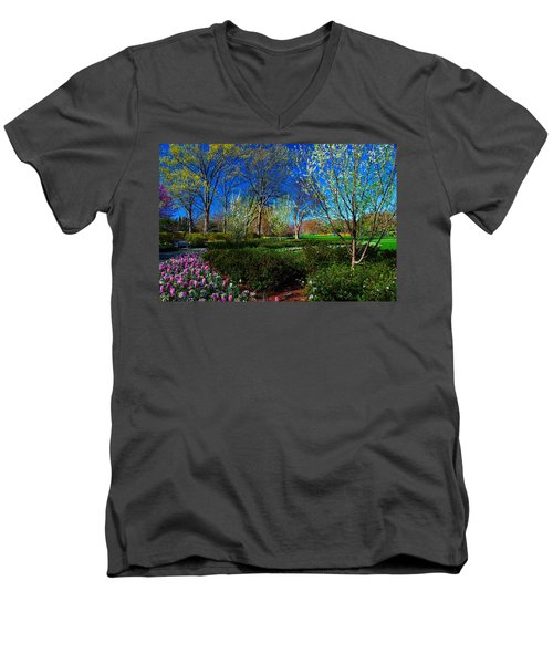 My Garden In Spring Men's V-Neck T-Shirt by Diana Mary Sharpton