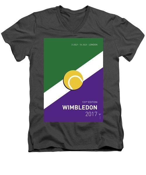 Men's V-Neck T-Shirt featuring the digital art My Grand Slam 03 Wimbeldon Open 2017 Minimal Poster by Chungkong Art