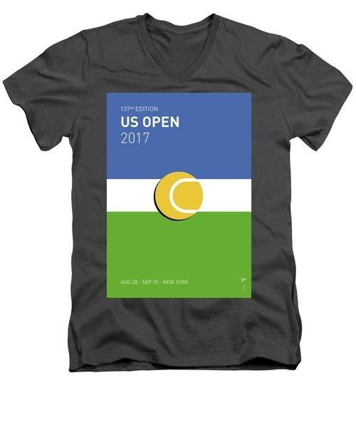 Men's V-Neck T-Shirt featuring the digital art My Grand Slam 04 Us Open 2017 Minimal Poster by Chungkong Art