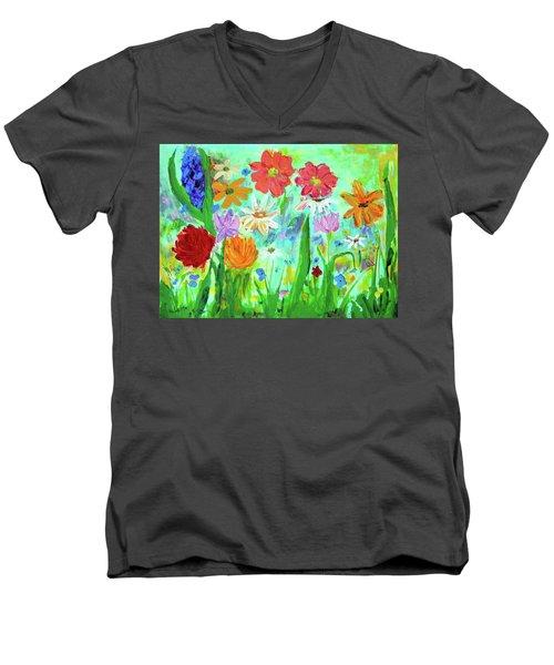 My Happy Garden 1  Men's V-Neck T-Shirt by Haleh Mahbod