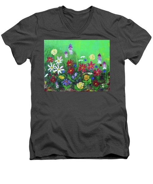 My Happy Garden 2 Men's V-Neck T-Shirt by Haleh Mahbod