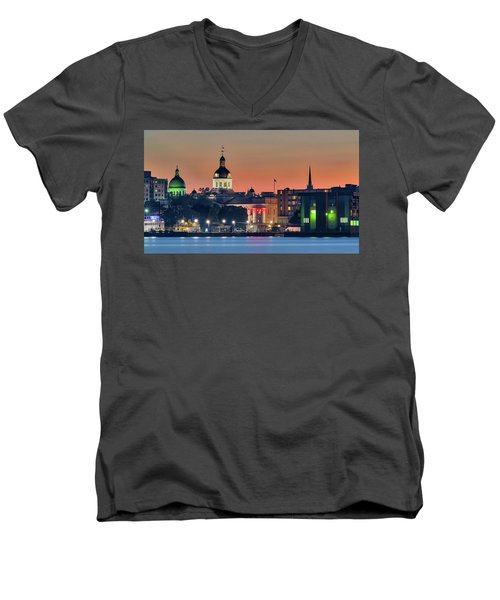 My Home Town At Night... Men's V-Neck T-Shirt