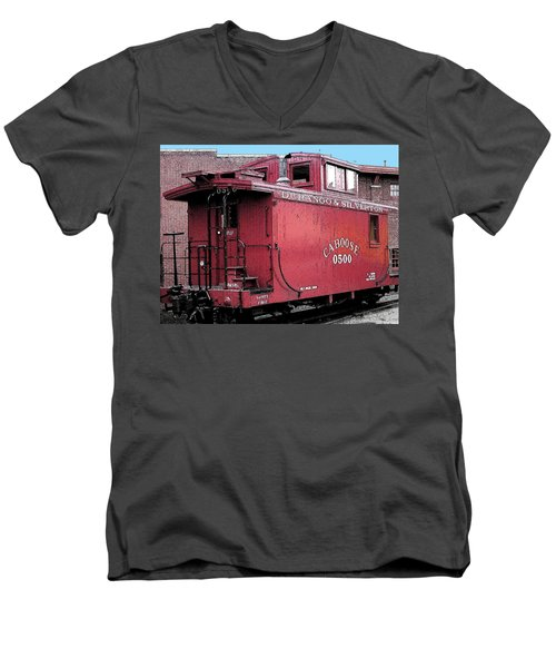 Men's V-Neck T-Shirt featuring the digital art My Little Red Caboose by Gary Baird
