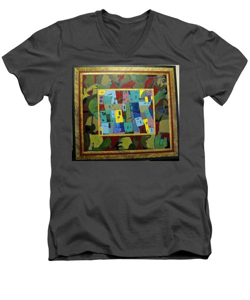 Men's V-Neck T-Shirt featuring the painting My Little Town by Bernard Goodman