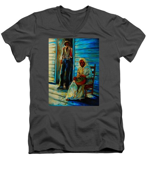 Men's V-Neck T-Shirt featuring the painting My Mom by Emery Franklin