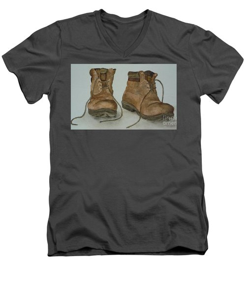 Men's V-Neck T-Shirt featuring the painting My Old Hiking Boots by Annemeet Hasidi- van der Leij