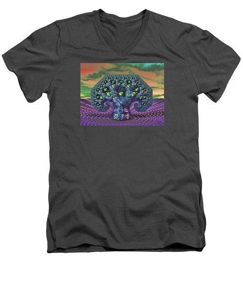 Men's V-Neck T-Shirt featuring the digital art My Pythagoras Tree by Manny Lorenzo