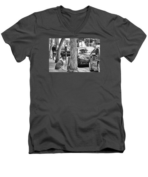 Men's V-Neck T-Shirt featuring the photograph My Street, Dude by Vinnie Oakes