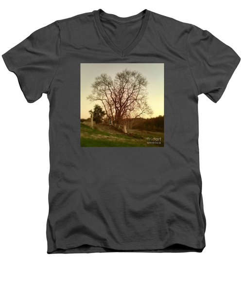 My Tree Has A Soul  Men's V-Neck T-Shirt by Delona Seserman