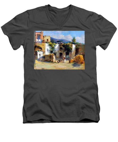 Men's V-Neck T-Shirt featuring the painting My Uncle Farm House by Rosario Piazza