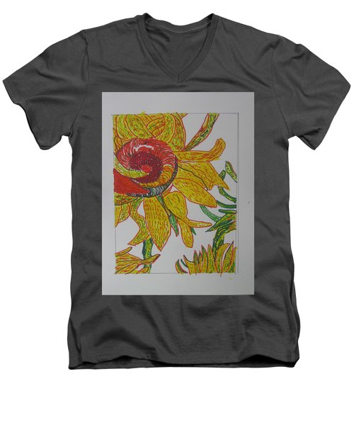 My Version Of A Van Gogh Sunflower Men's V-Neck T-Shirt by AJ Brown