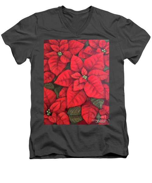 My Very Red Poinsettia Men's V-Neck T-Shirt