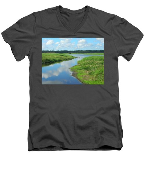 Men's V-Neck T-Shirt featuring the photograph Myakka River Reflections by Emmy Marie Vickers