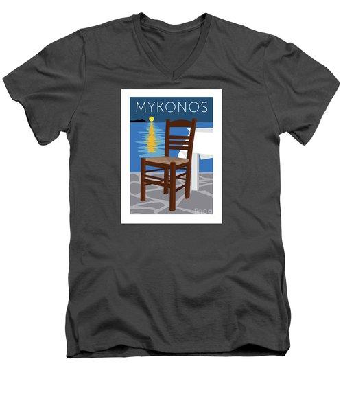 Mykonos Empty Chair - Blue Men's V-Neck T-Shirt