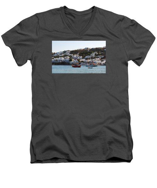 Men's V-Neck T-Shirt featuring the photograph Mykonos Fishing Boats by Robert Moss