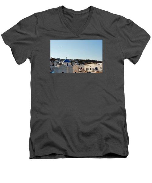 Mykonos Sunrise Men's V-Neck T-Shirt by Robert Moss