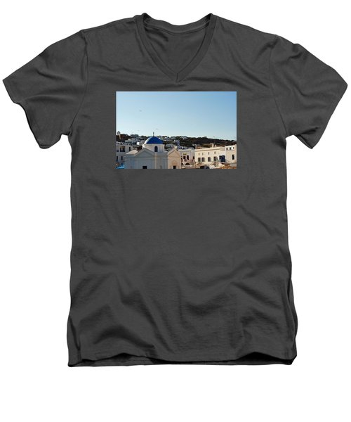 Mykonos Sunrise Men's V-Neck T-Shirt