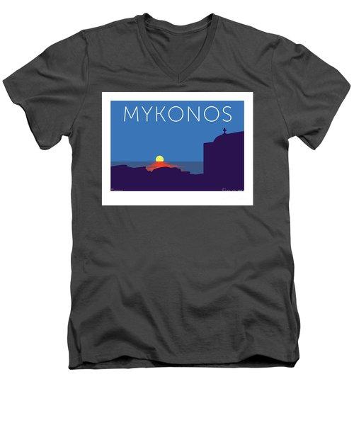Mykonos Sunset Silhouette - Blue Men's V-Neck T-Shirt