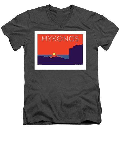 Mykonos Sunset Silhouette - Orange Men's V-Neck T-Shirt