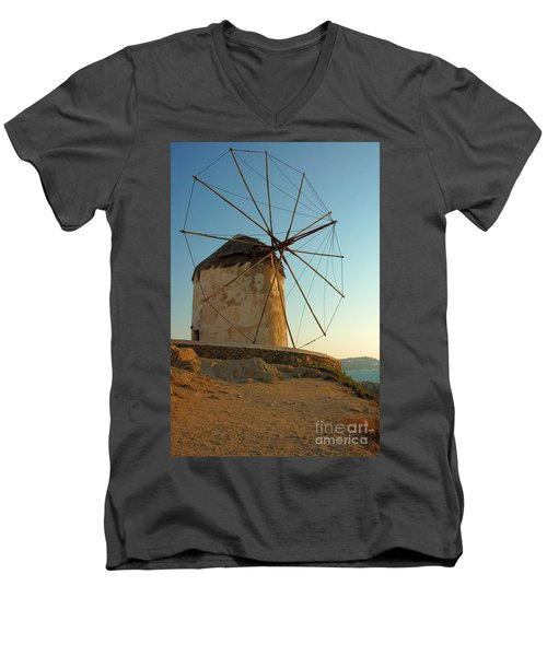 Mykonos Windmill  Men's V-Neck T-Shirt