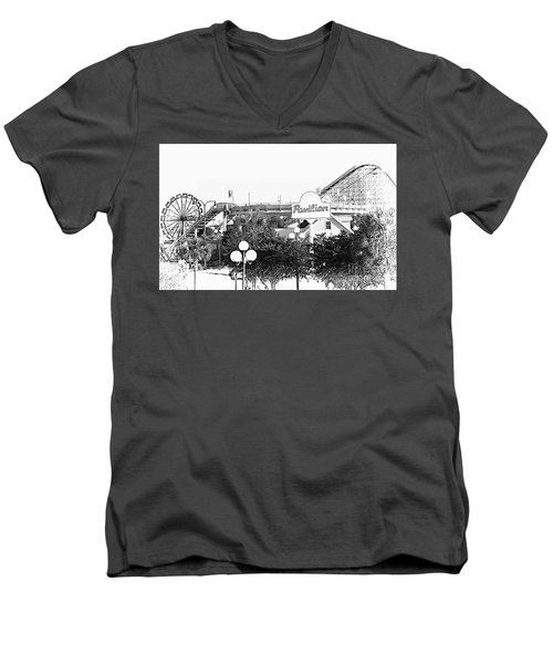 Myrtle Beach Pavillion Amusement Park Monotone Men's V-Neck T-Shirt