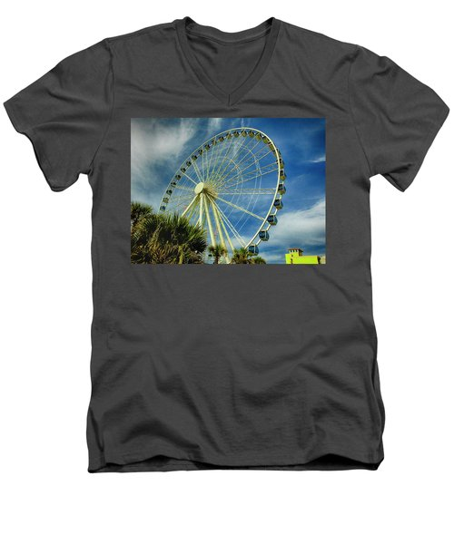 Men's V-Neck T-Shirt featuring the photograph Myrtle Beach Skywheel by Bill Barber