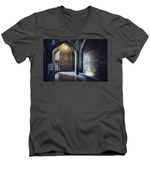 Mysterious Corridor In Persian Mosque Men's V-Neck T-Shirt