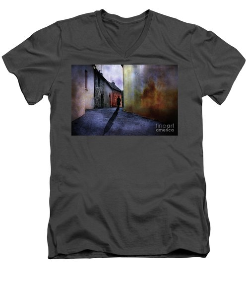 Men's V-Neck T-Shirt featuring the mixed media Mystery Corner by Jim  Hatch