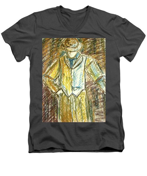 Men's V-Neck T-Shirt featuring the painting Mystery Man by Cathie Richardson