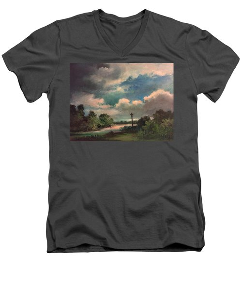 Men's V-Neck T-Shirt featuring the painting Mystery Of God  The Eye Of God by Randol Burns