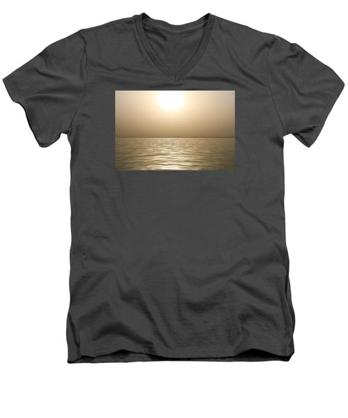 Mystery Sandstorm Sunset- The Red Sea Men's V-Neck T-Shirt by Glenn Feron