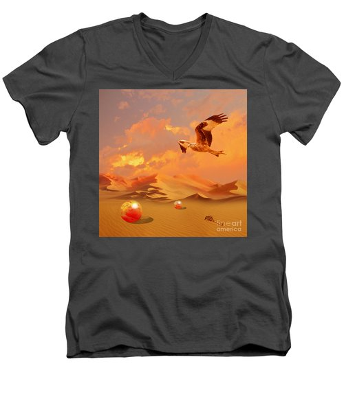 Men's V-Neck T-Shirt featuring the digital art Mystic Desert Another Planet by Alexa Szlavics