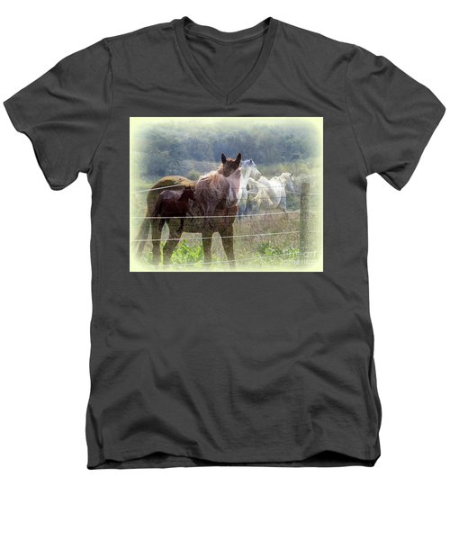 Mystic Horses Men's V-Neck T-Shirt