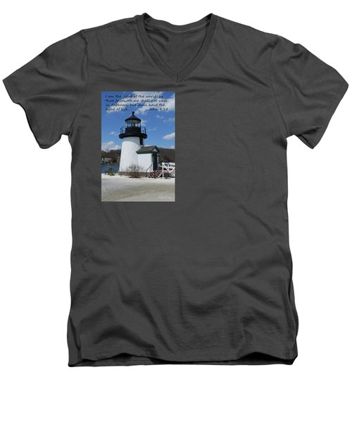 Mystic Lighthouse John 8-12 Men's V-Neck T-Shirt